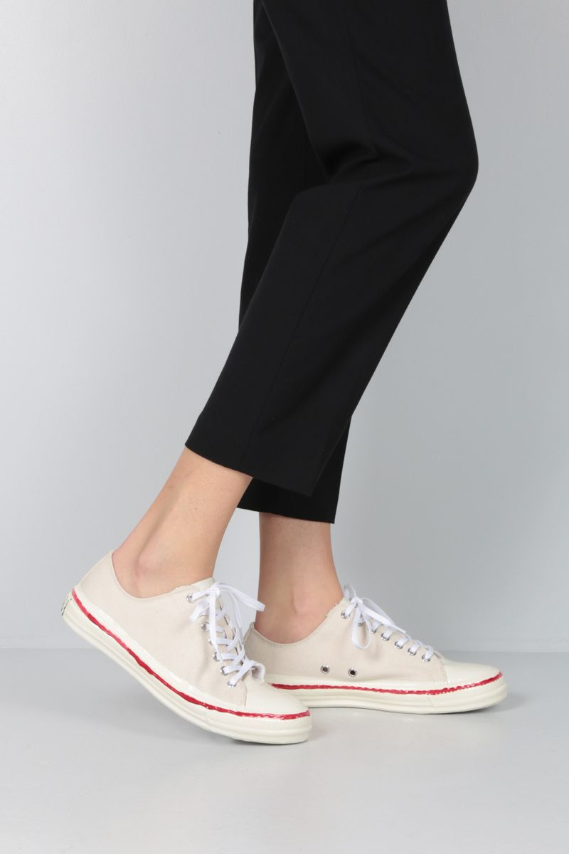 MARNI: canvas low-top sneakers Color White_2
