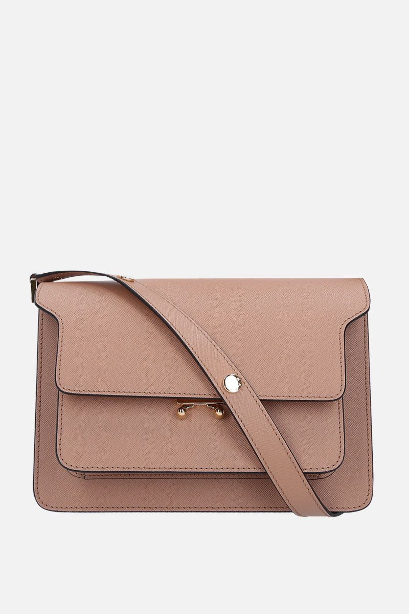 MARNI: Trunk medium shoulder bag in saffiano leather Color Brown_1
