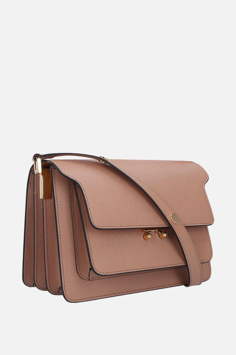 MARNI: Trunk medium shoulder bag in saffiano leather Color Brown_2