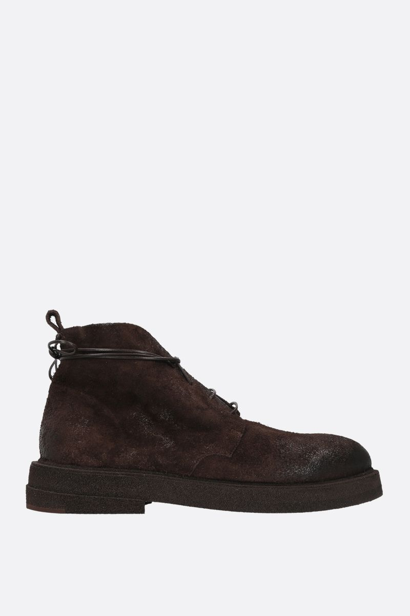 MARSELL: Micrucca combat boots in reversed leather Color Brown_1