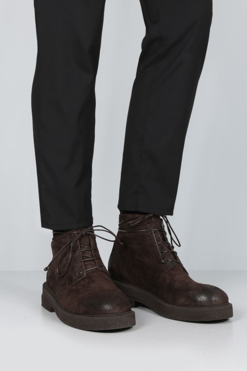 MARSELL: Micrucca combat boots in reversed leather Color Brown_2
