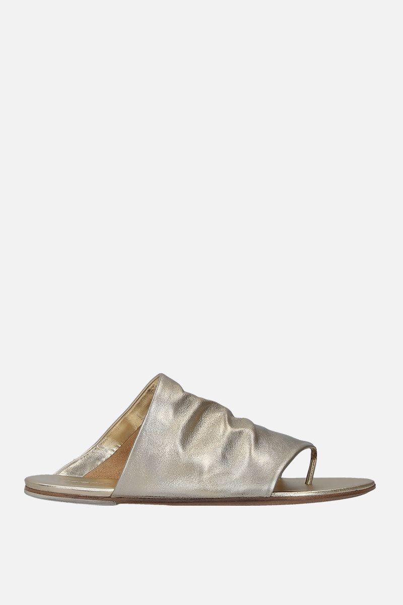 MARSELL: Arsella thong sandals in laminated leather Color Silver_1
