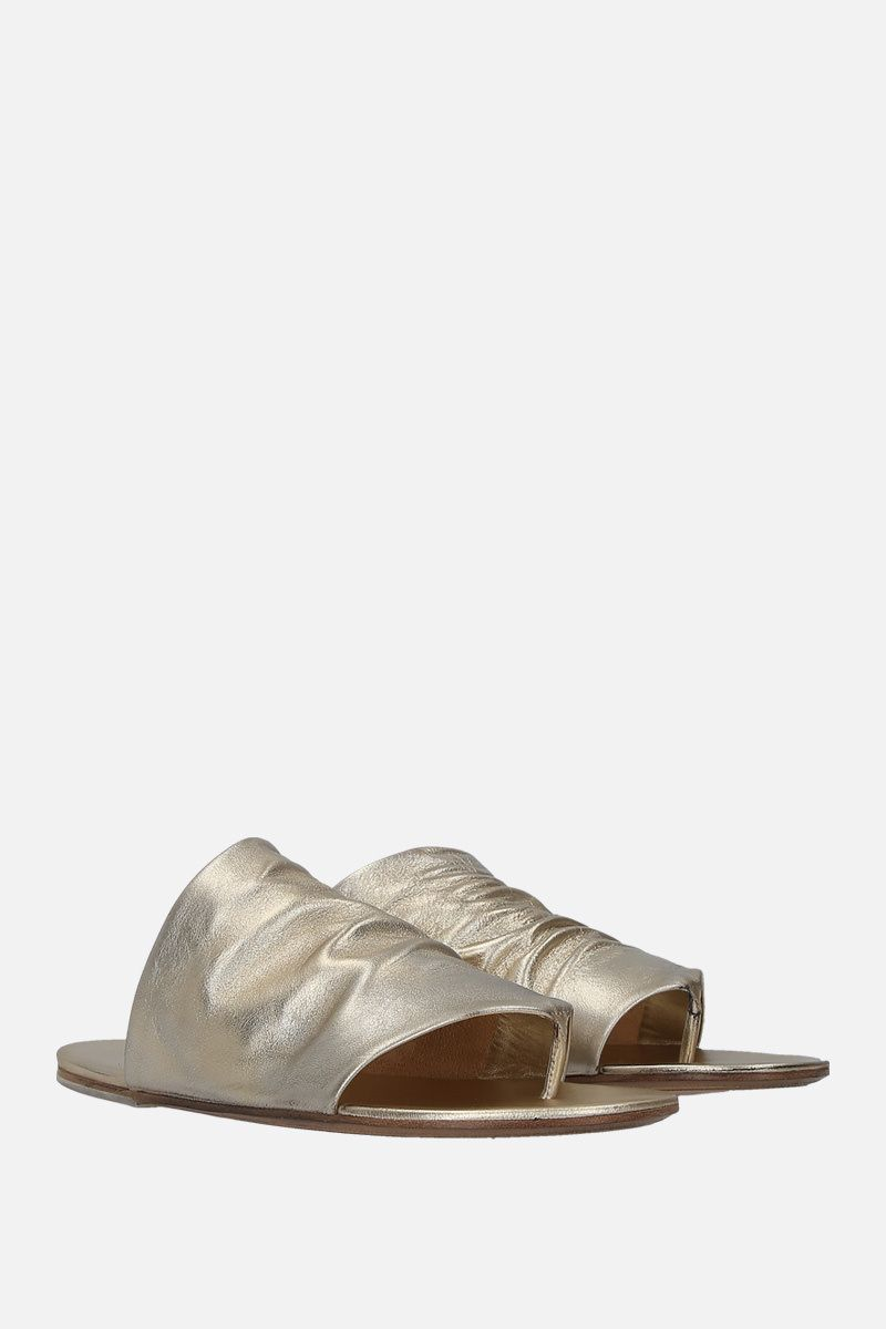 MARSELL: Arsella thong sandals in laminated leather Color Silver_2