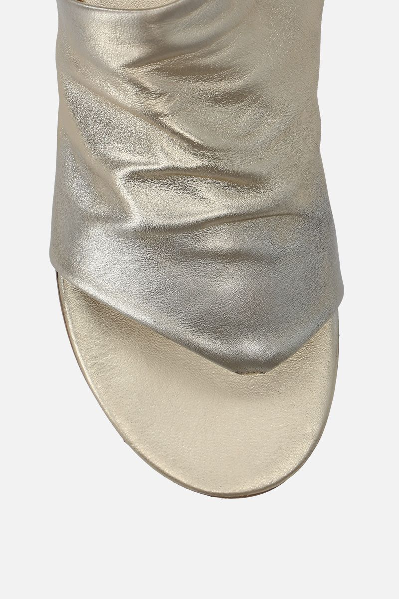 MARSELL: Arsella thong sandals in laminated leather Color Silver_4