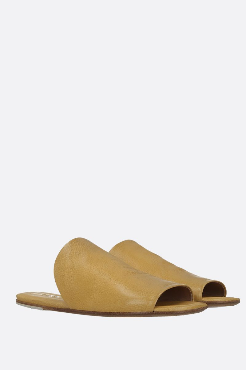 MARSELL: Arsella flat sandals in textured leather Color Yellow_2