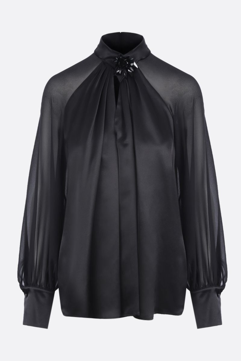 MAX MARA: Enna blouse in silk satin and georgette Color Black_1