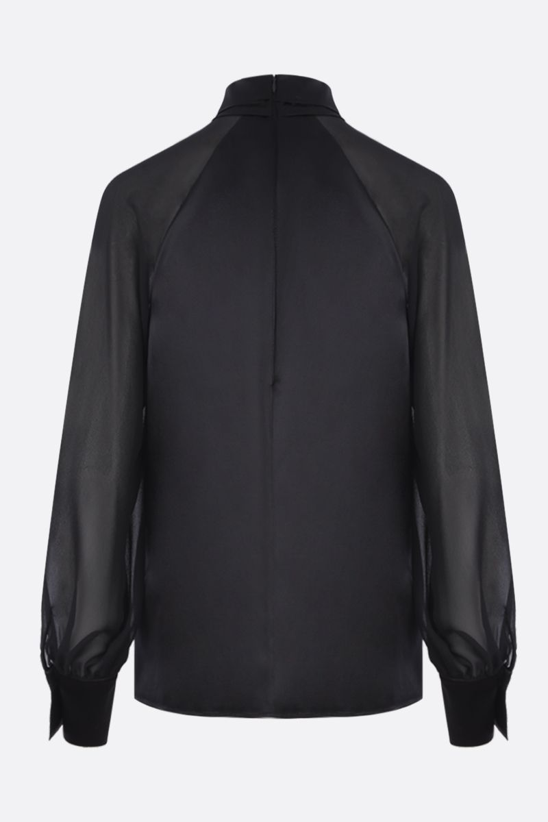 MAX MARA: Enna blouse in silk satin and georgette Color Black_2