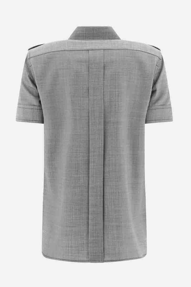 MAX MARA: Dovere stretch wool short-sleeved shirt Color Black_2