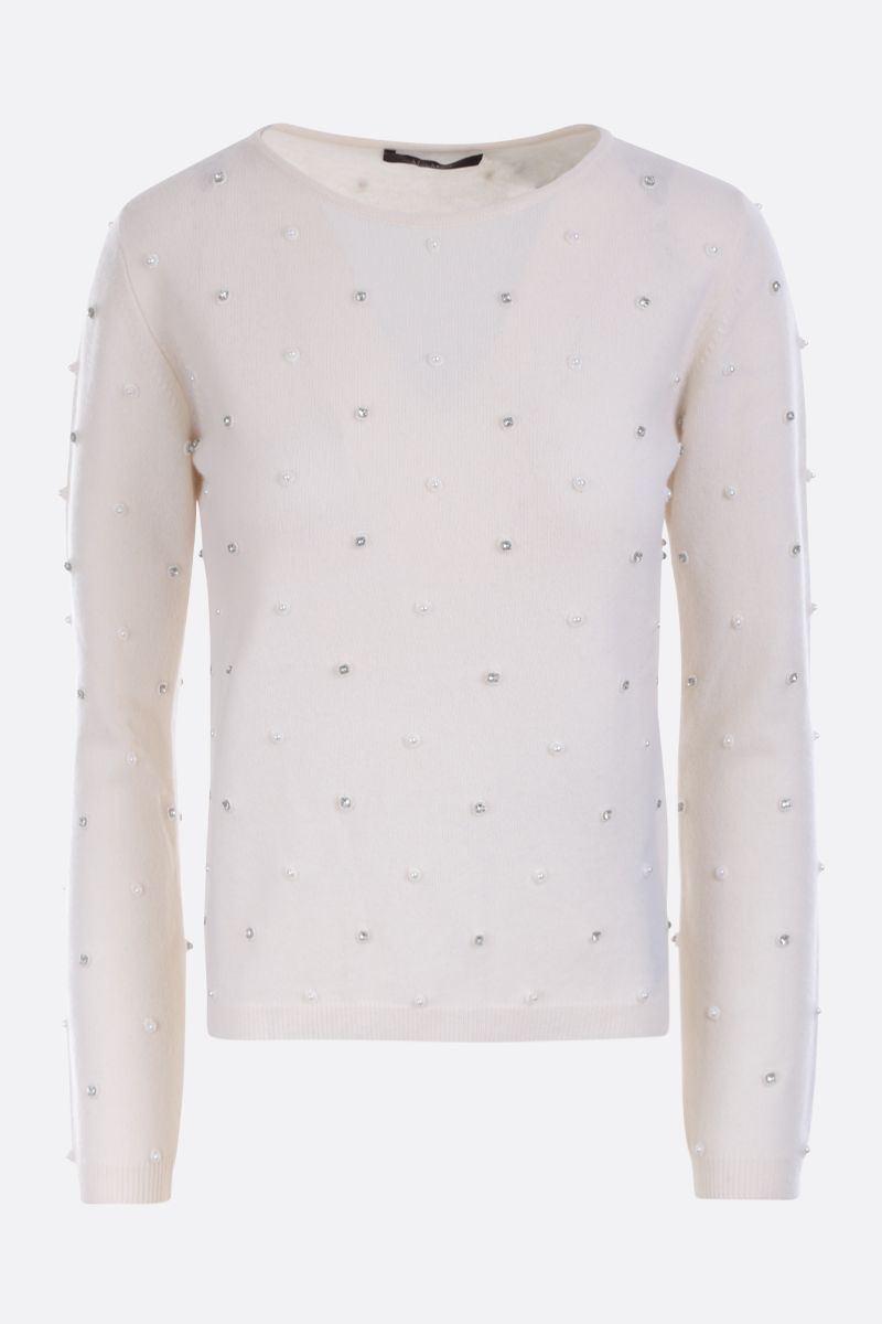 MAX MARA: Dolmen pullover in embellished wool cashmere blend Color White_1