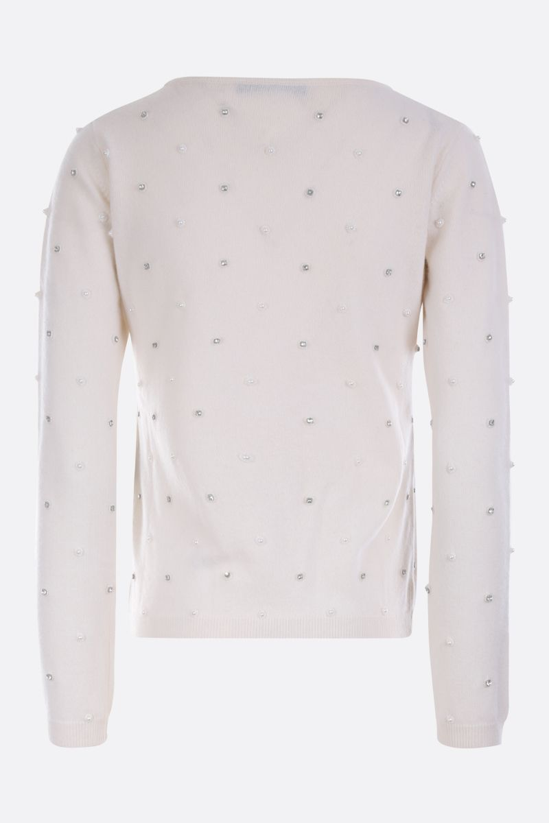 MAX MARA: Dolmen pullover in embellished wool cashmere blend Color White_2