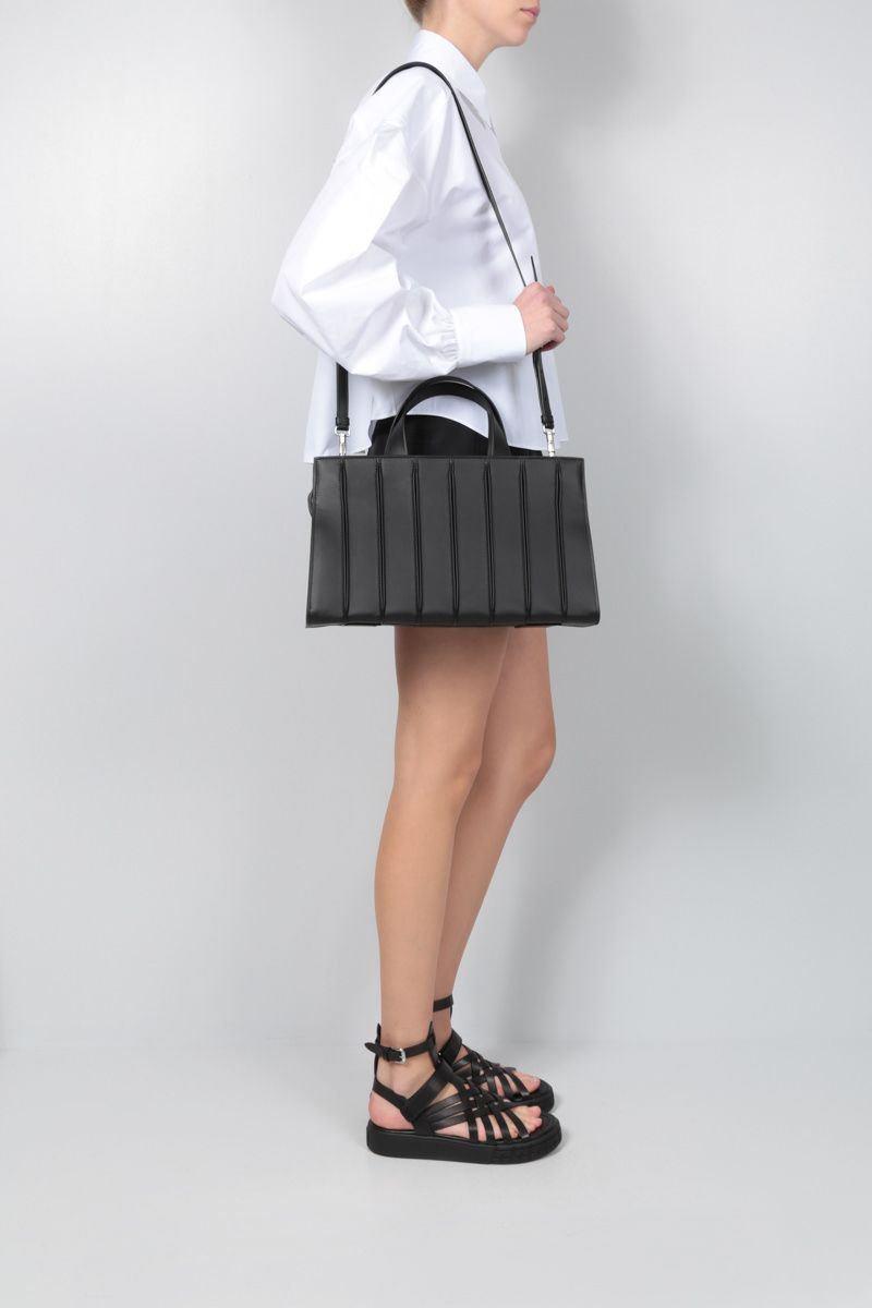 MAX MARA: Whitney large smooth leather tote bag Color Black_2