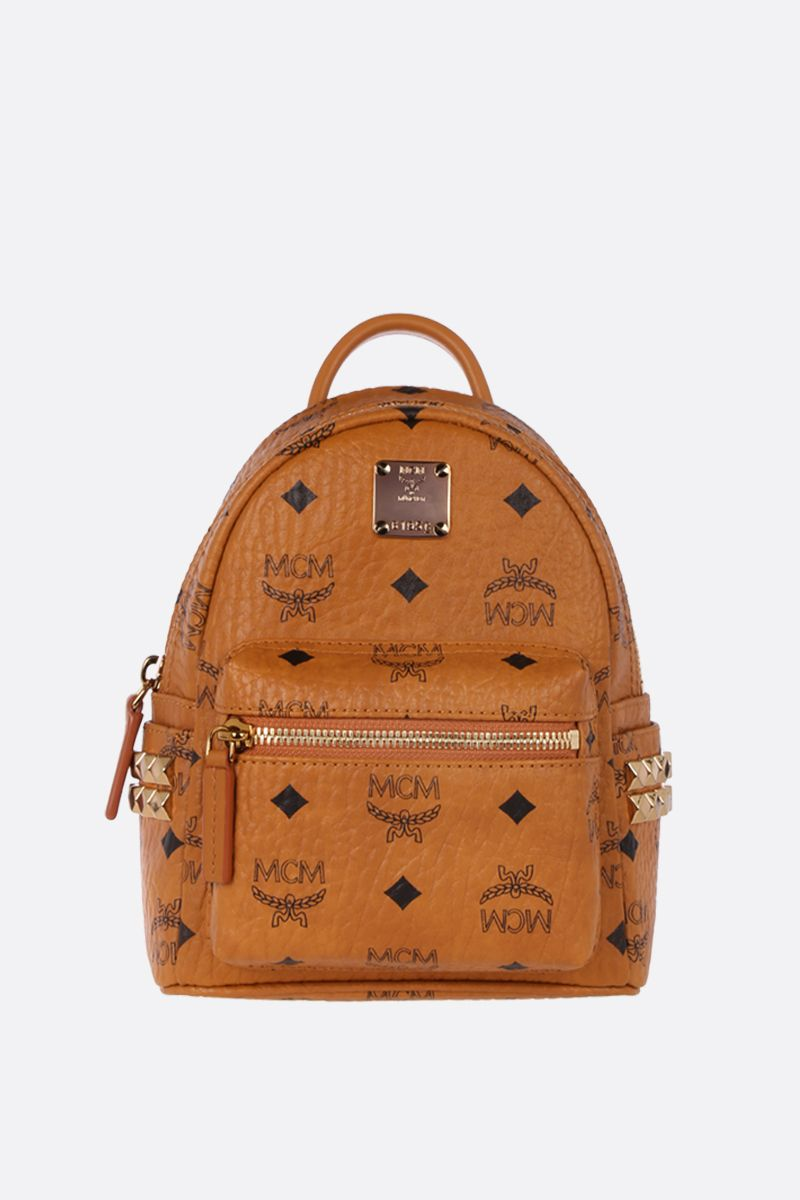 MCM: Stark Bebe Boo backpack in Visetos coated canvas Color Brown_1