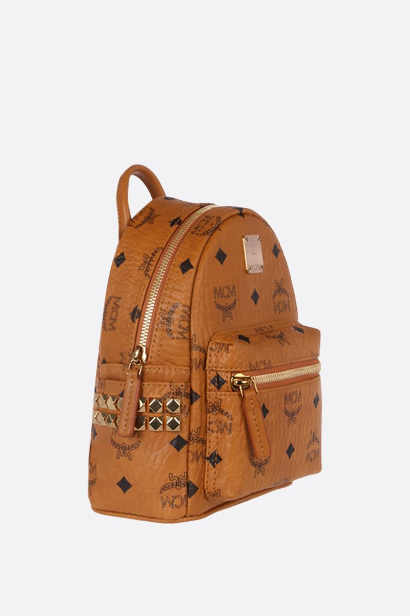 MCM: Stark Bebe Boo backpack in Visetos coated canvas Color Brown_2