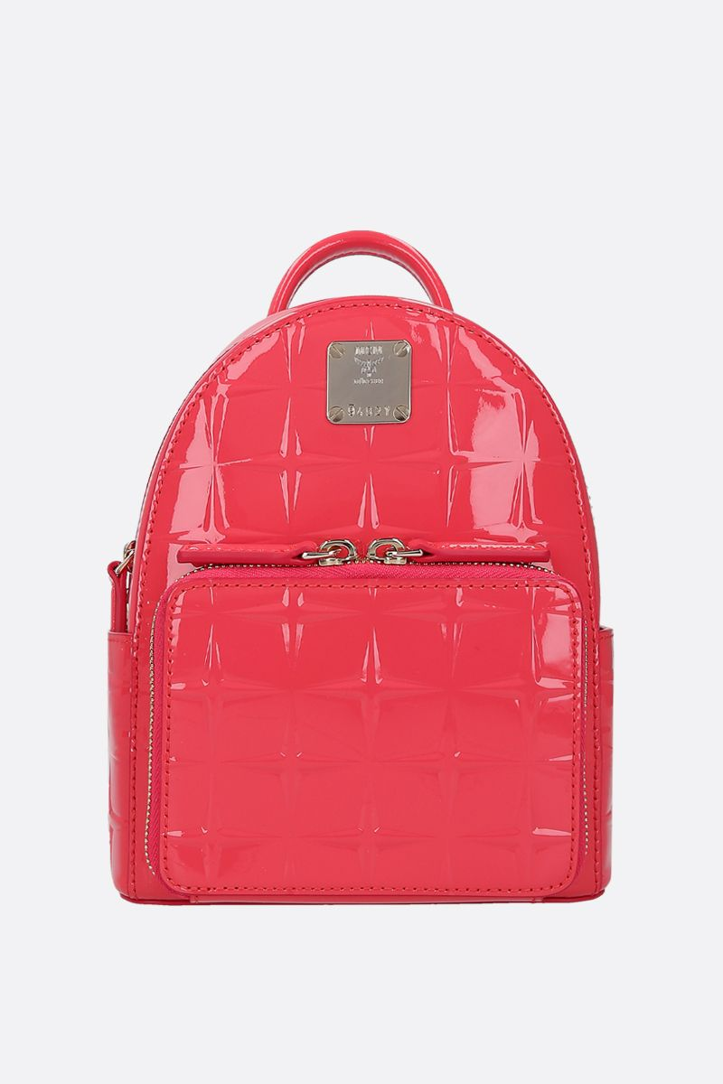 MCM: Stark Bebe Boo backpack in embossed patent leather_1