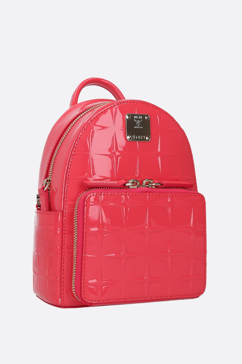 MCM: Stark Bebe Boo backpack in embossed patent leather_2