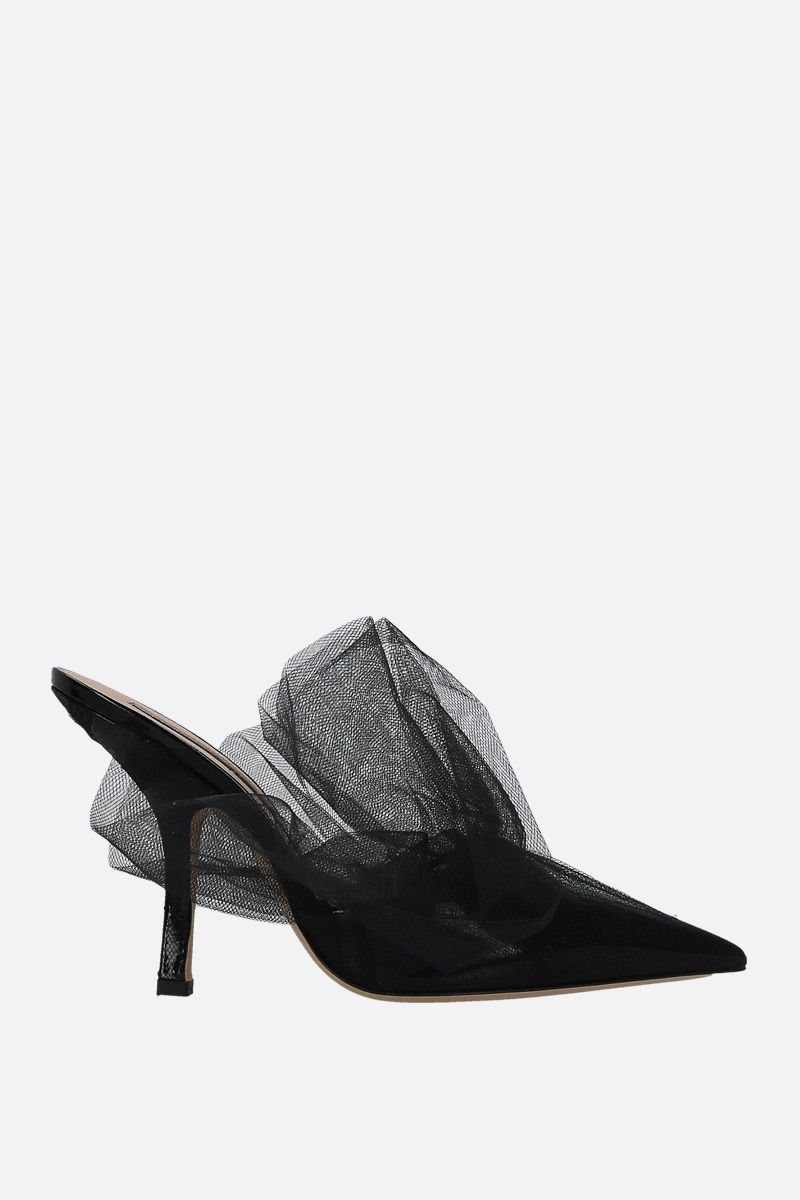 MIDNIGHT 00: patent leather and tulle mules Color Black_1