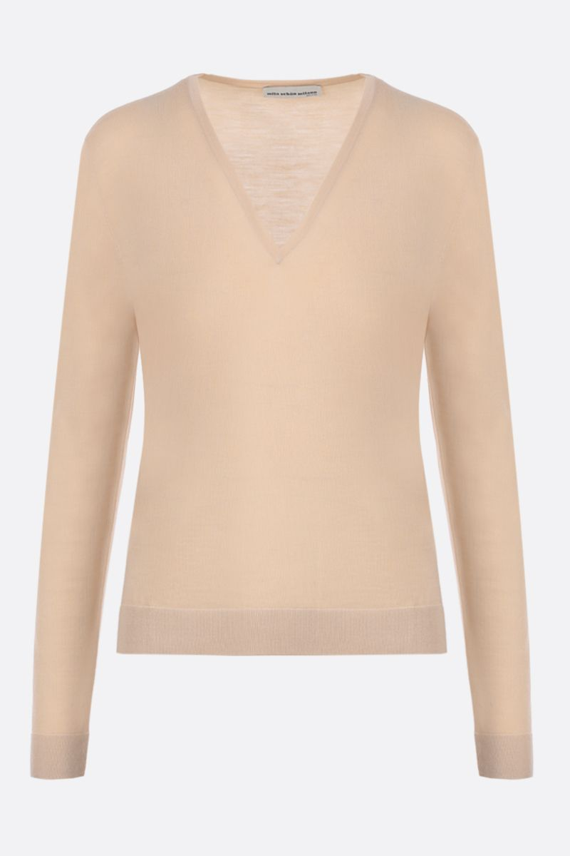 MILA SCHON: combed wool pullover Color Brown_1