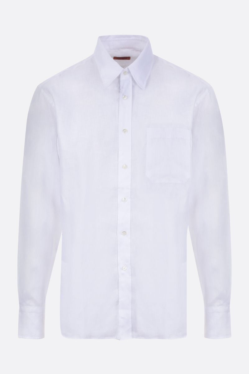 MISSONI: contrasting band-detailed linen shirt Color Neutral_1