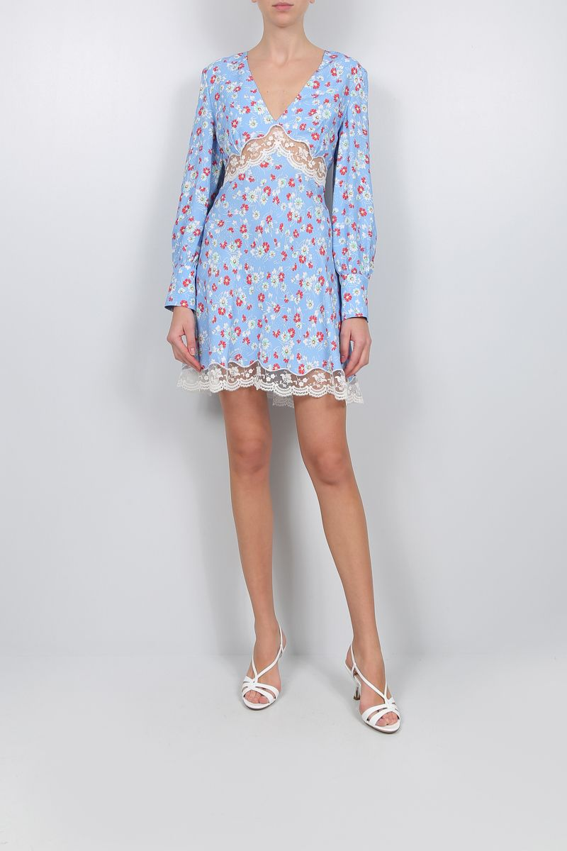 MIU MIU: lace-detailed satin short dress Color Blue_2