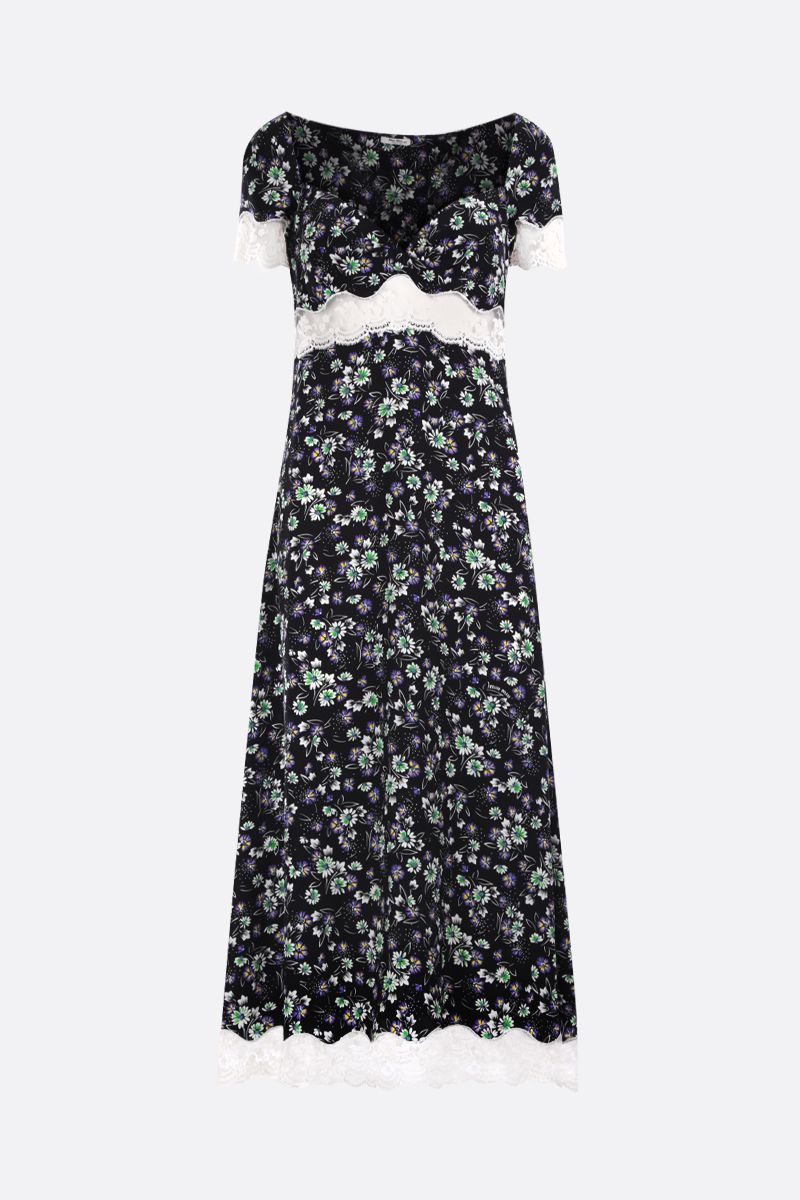 MIU MIU: lace-detailed silk long dress Color Black_1