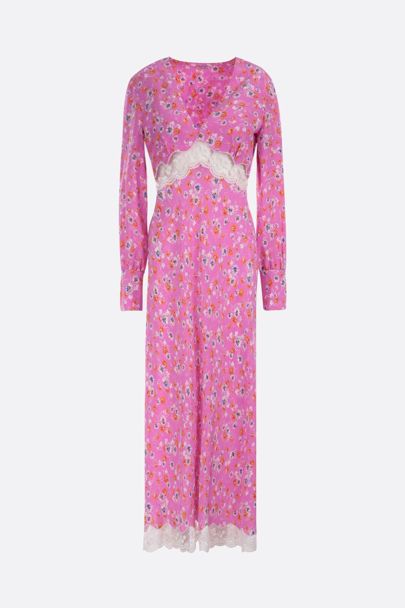 MIU MIU: lace-detailed silk long dress Color Pink_1