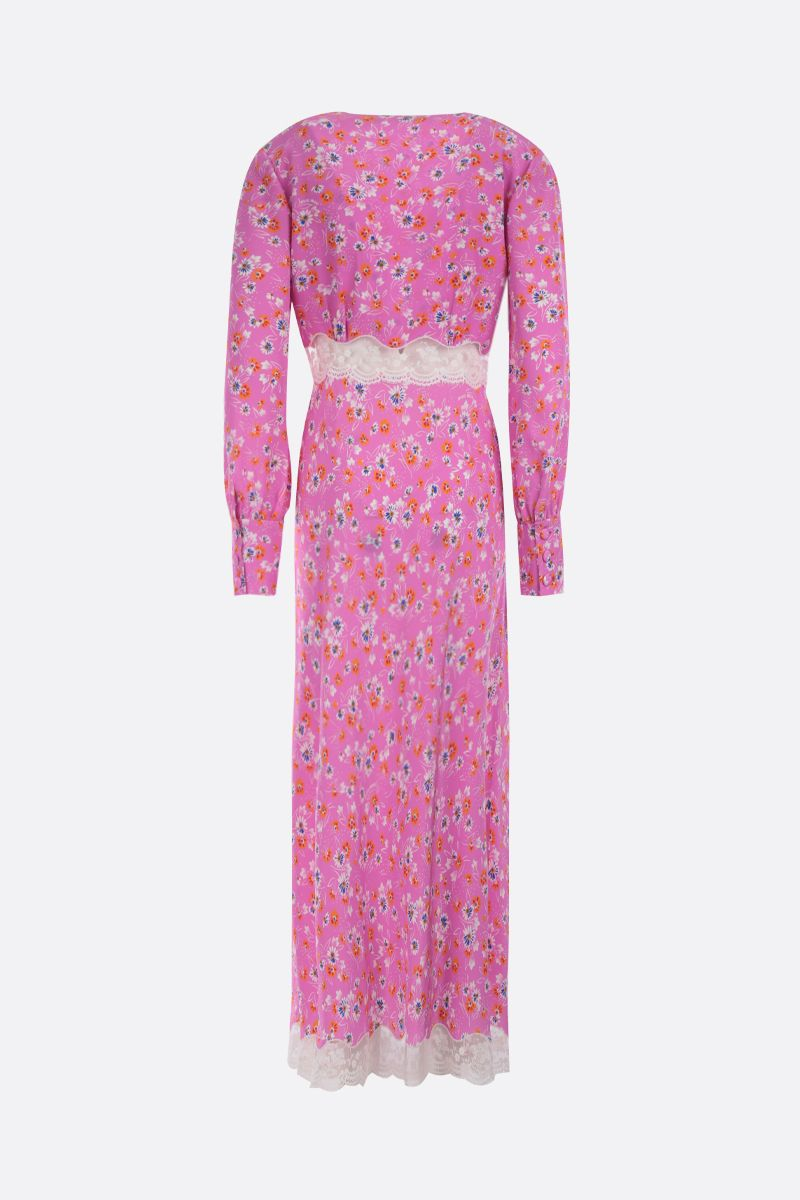 MIU MIU: lace-detailed silk long dress Color Pink_2