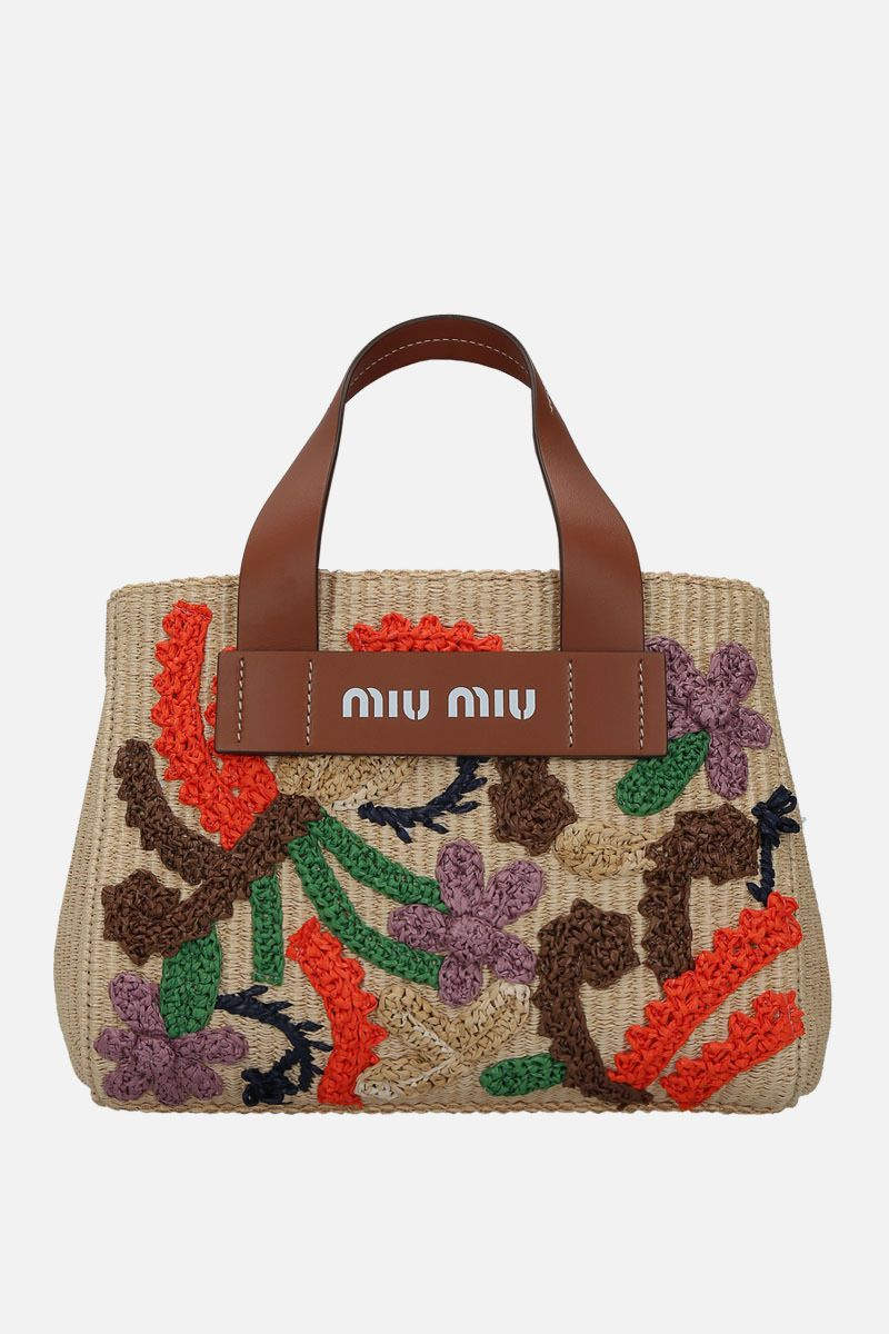 MIU MIU: embroidered straw top handle bag Color Brown_1