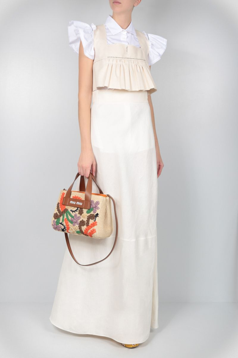 MIU MIU: embroidered straw top handle bag Color Brown_2