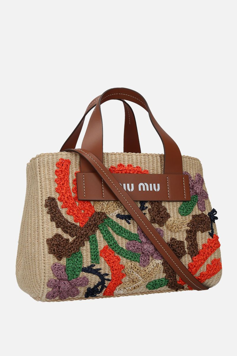 MIU MIU: embroidered straw top handle bag Color Brown_3