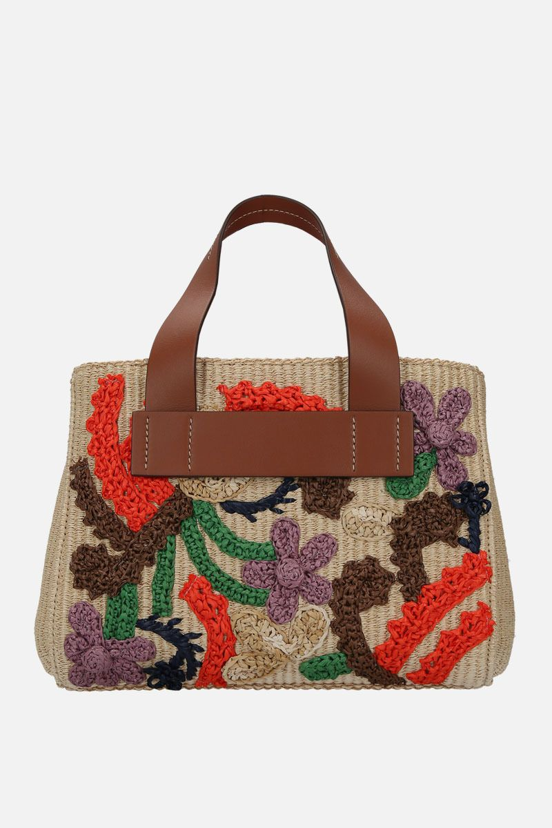 MIU MIU: embroidered straw top handle bag Color Brown_4
