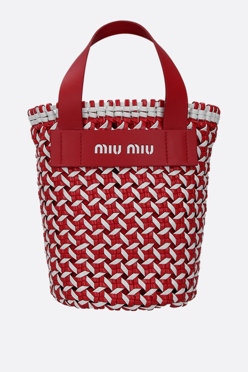 MIU MIU: woven faux leather top handle bag Color Red_1
