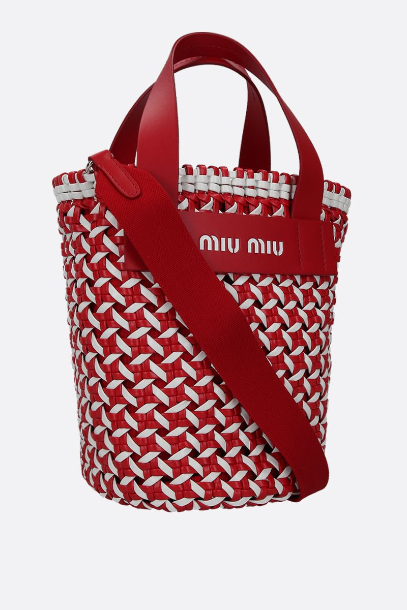 MIU MIU: woven faux leather top handle bag Color White_2
