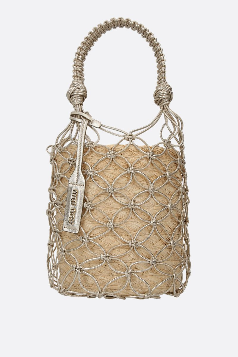 MIU MIU: straw and woven leather bucket bag Color Neutral_1