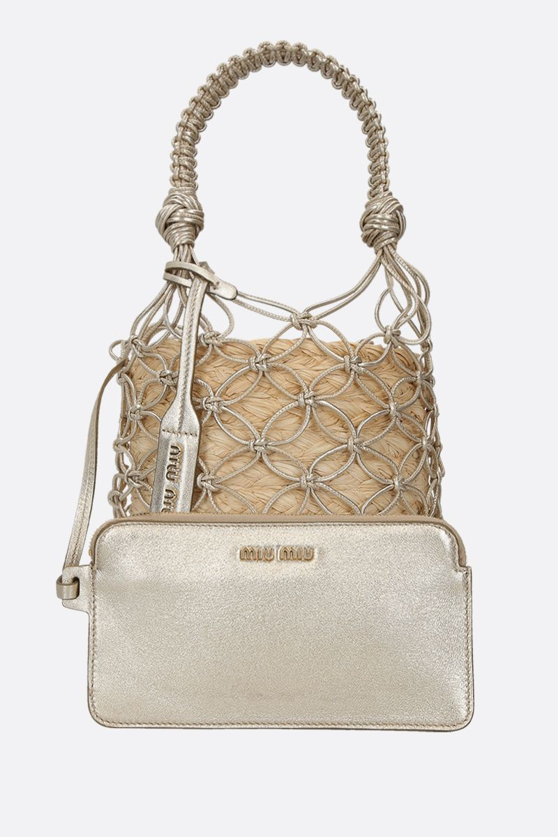 MIU MIU: straw and woven leather bucket bag Color Neutral_2