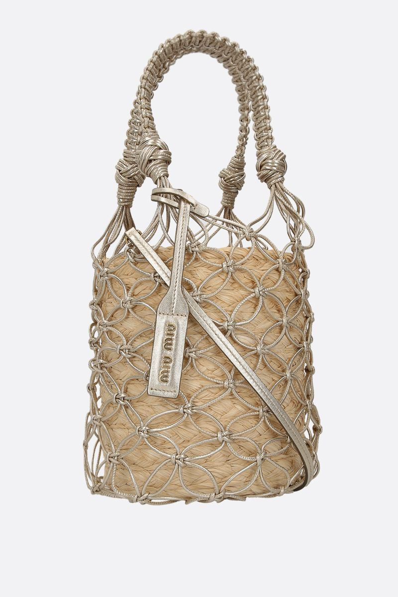 MIU MIU: straw and woven leather bucket bag Color Neutral_3