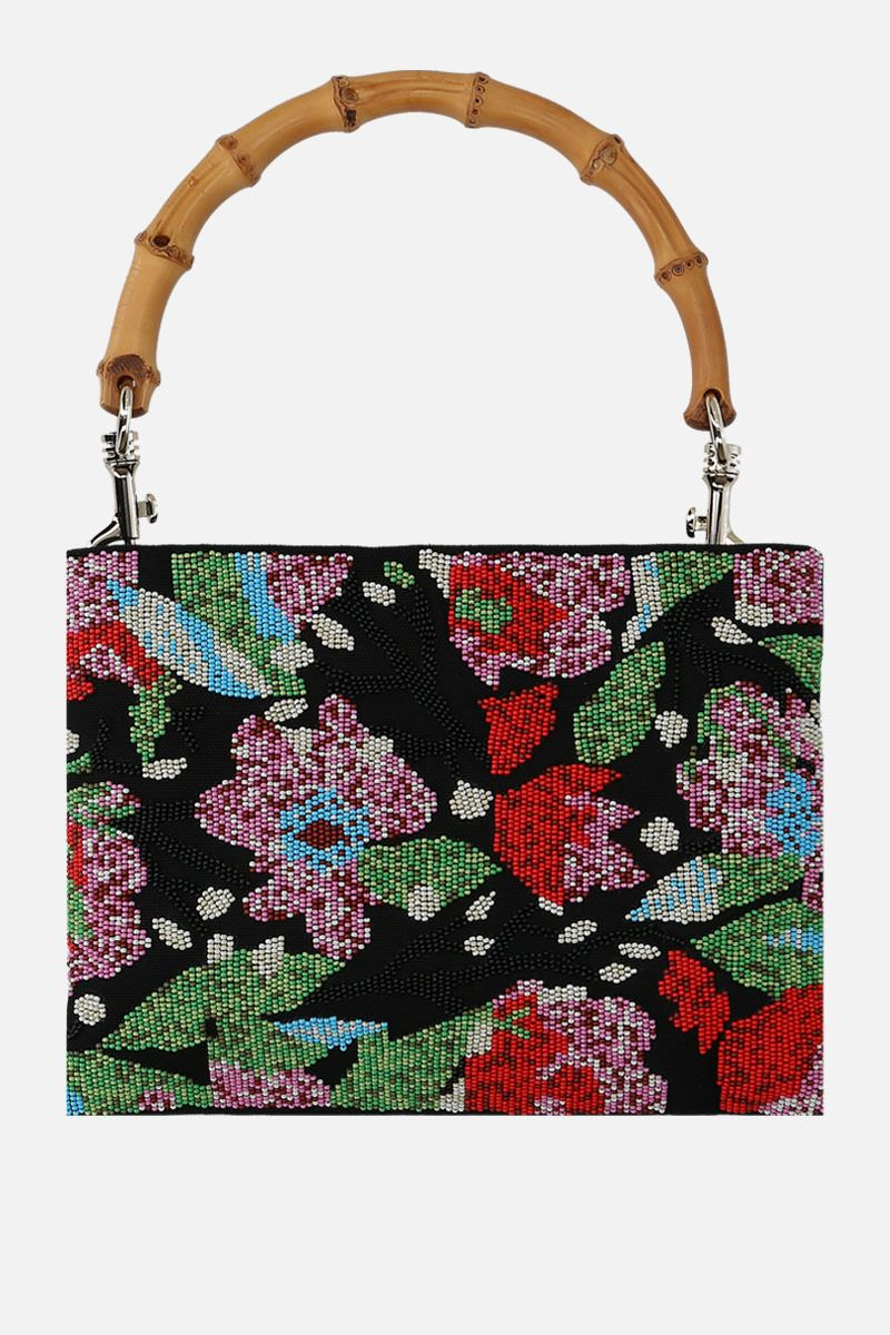 MIU MIU: bead-embroidered hemp fabric top handle bag Color Black_4