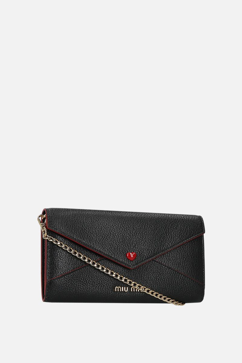 MIU MIU: Madras leather chain wallet Color Black_2