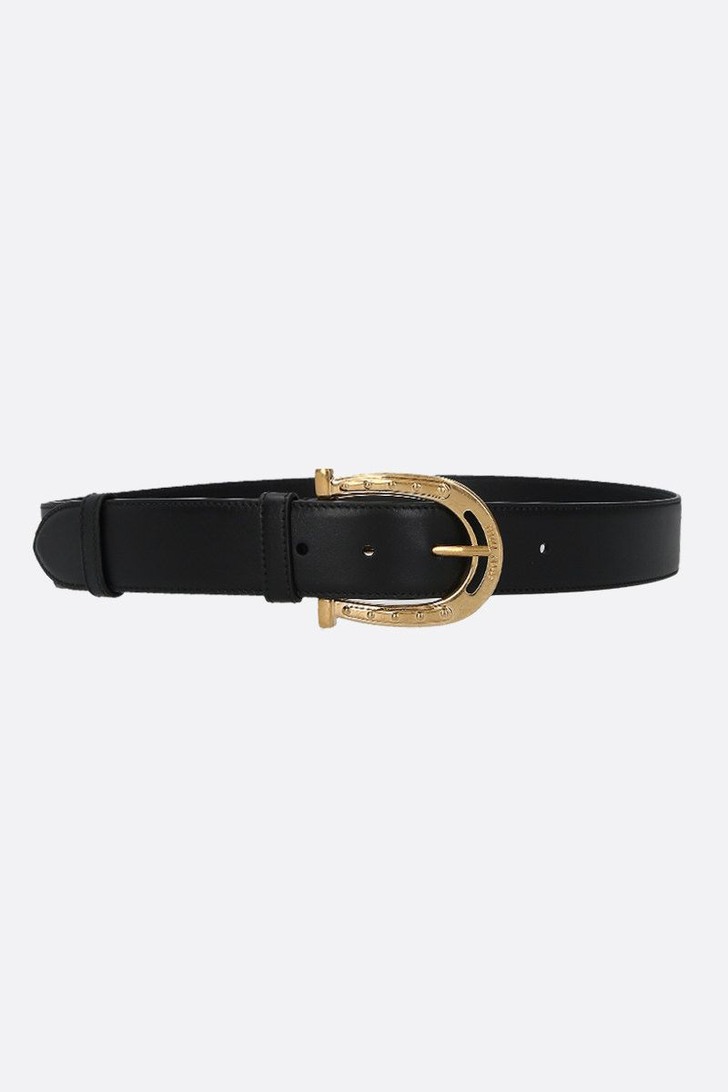 MIU MIU: City leather western-inspired belt Color Black_1