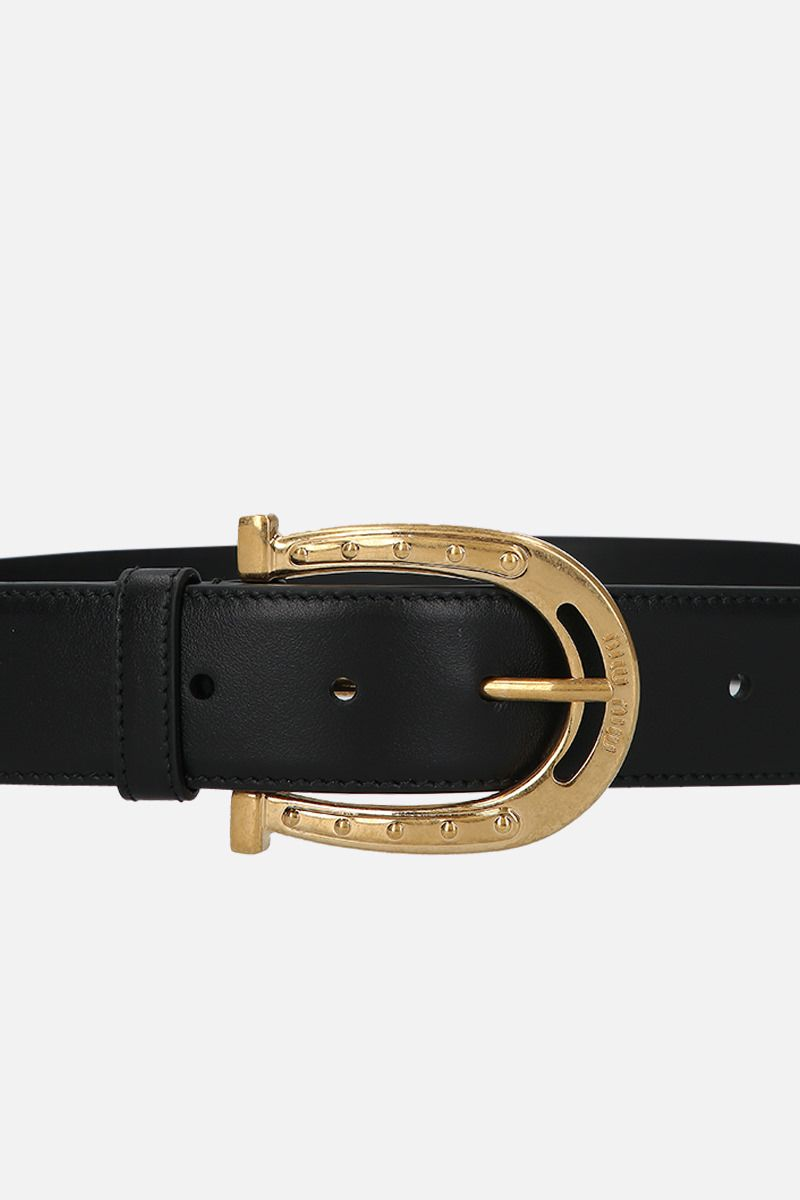 MIU MIU: City leather western-inspired belt Color Black_3