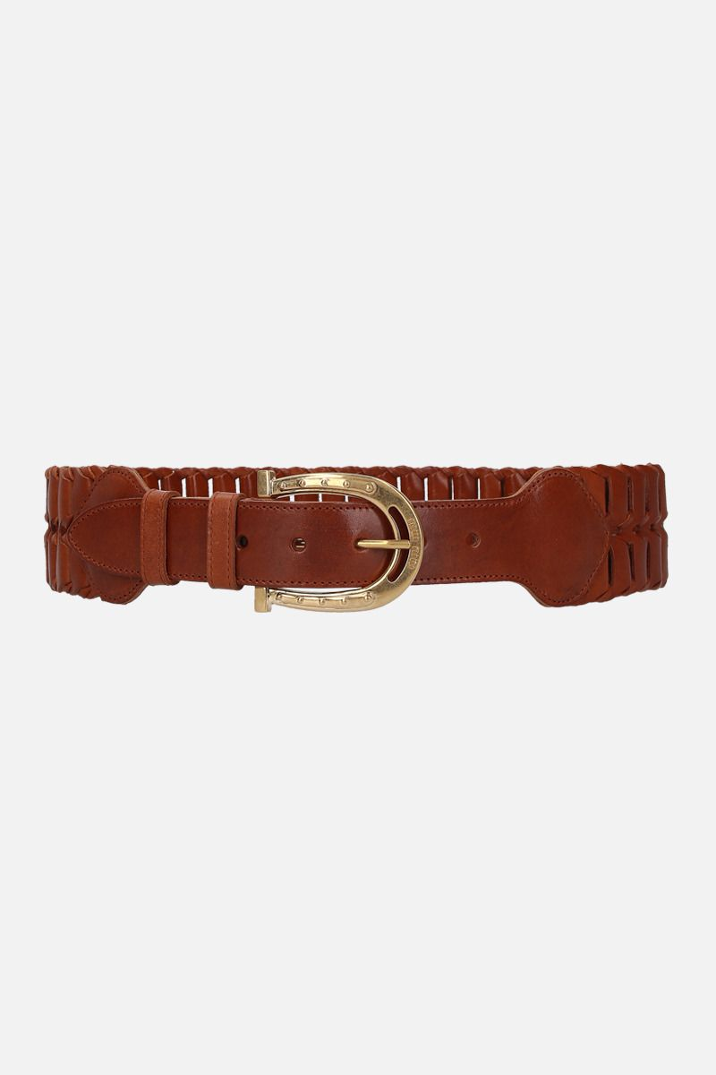 MIU MIU: woven leather waist belt_1
