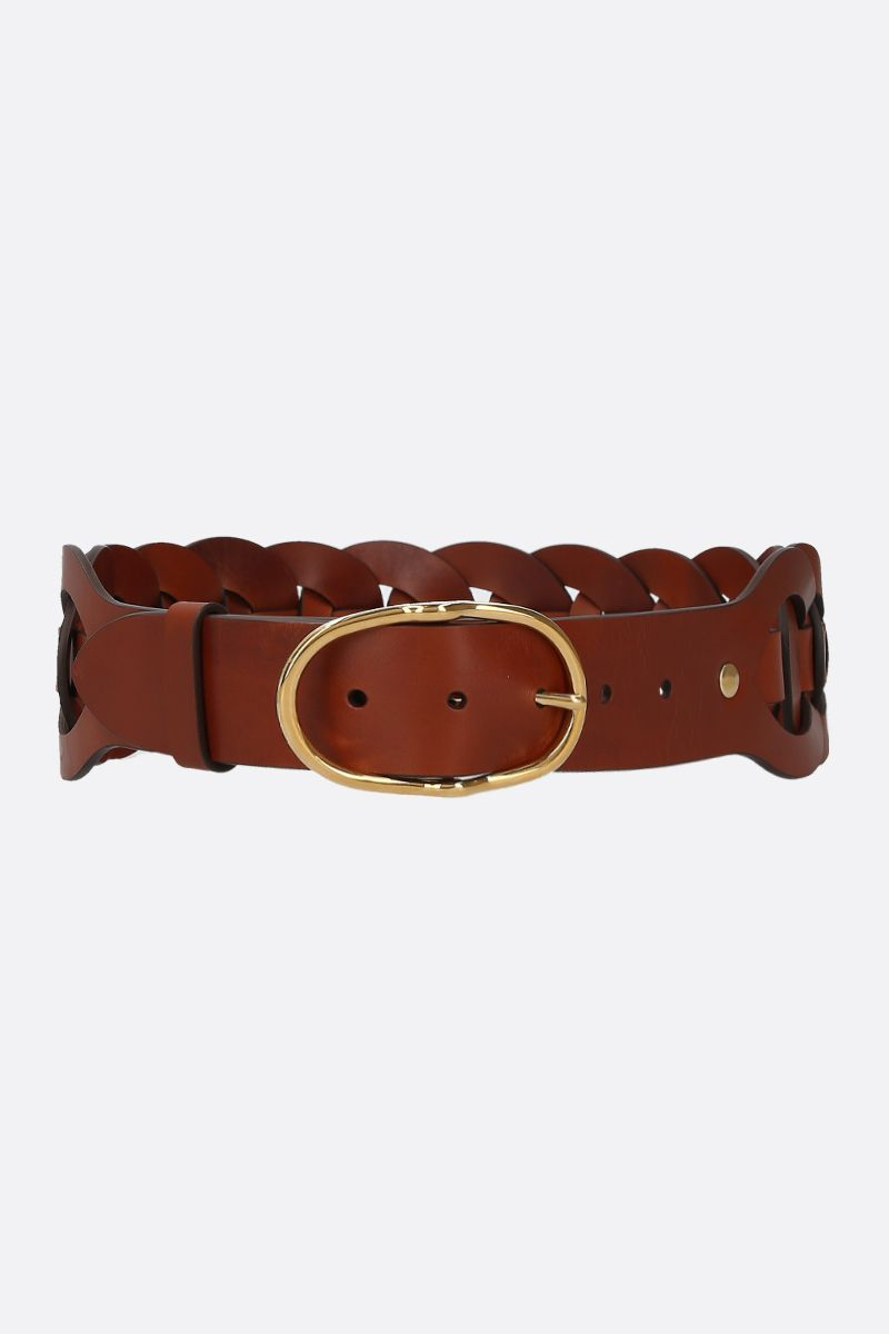 MIU MIU: woven leather waist belt Color Brown_1