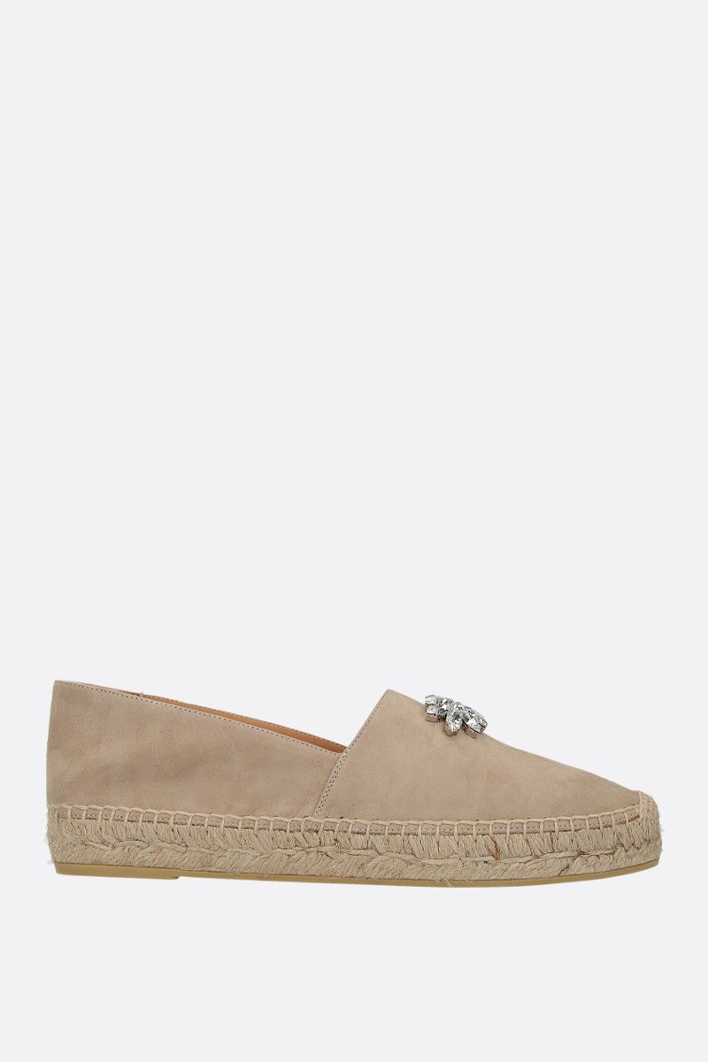 MIU MIU: crystal-embellished velvet suede espadrilles Color Neutral_1