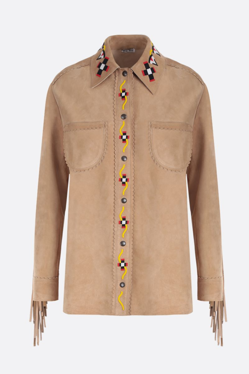 MIU MIU: bead-embroidered suede overshirt Color Neutral_1