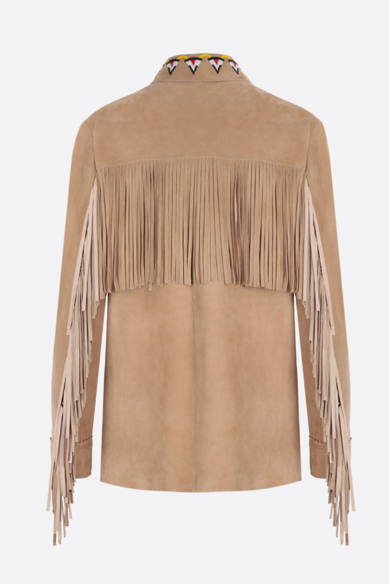 MIU MIU: bead-embroidered suede overshirt Color Neutral_2