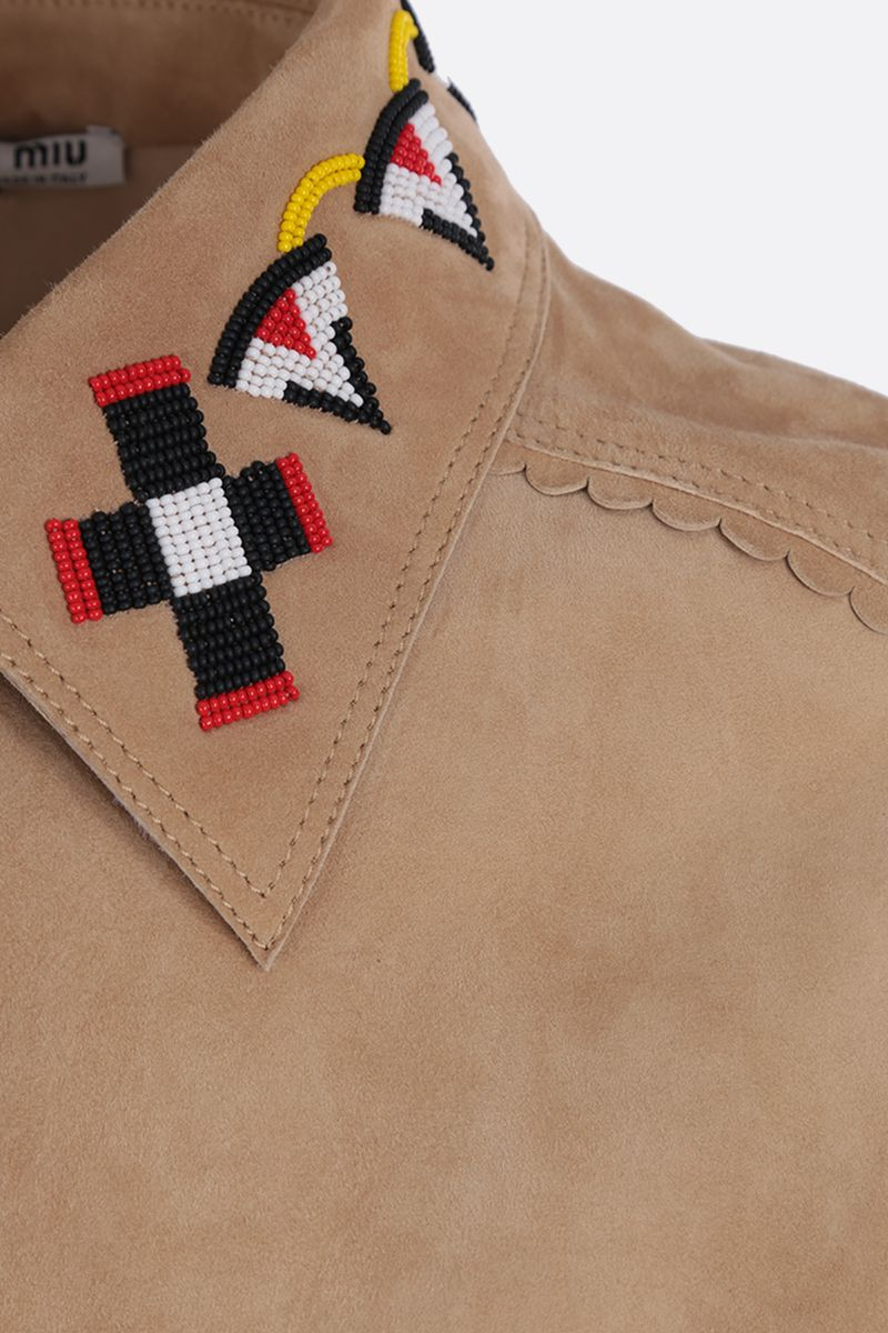MIU MIU: bead-embroidered suede overshirt Color Neutral_3