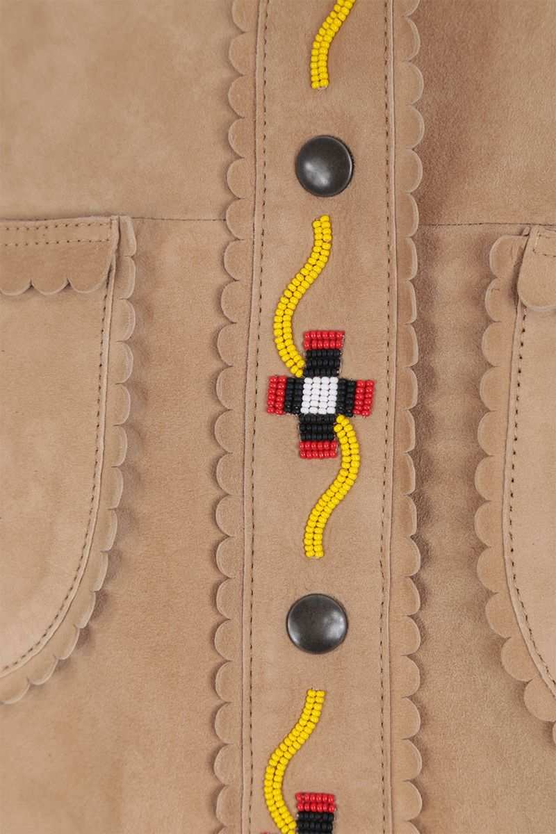 MIU MIU: bead-embroidered suede overshirt Color Neutral_4