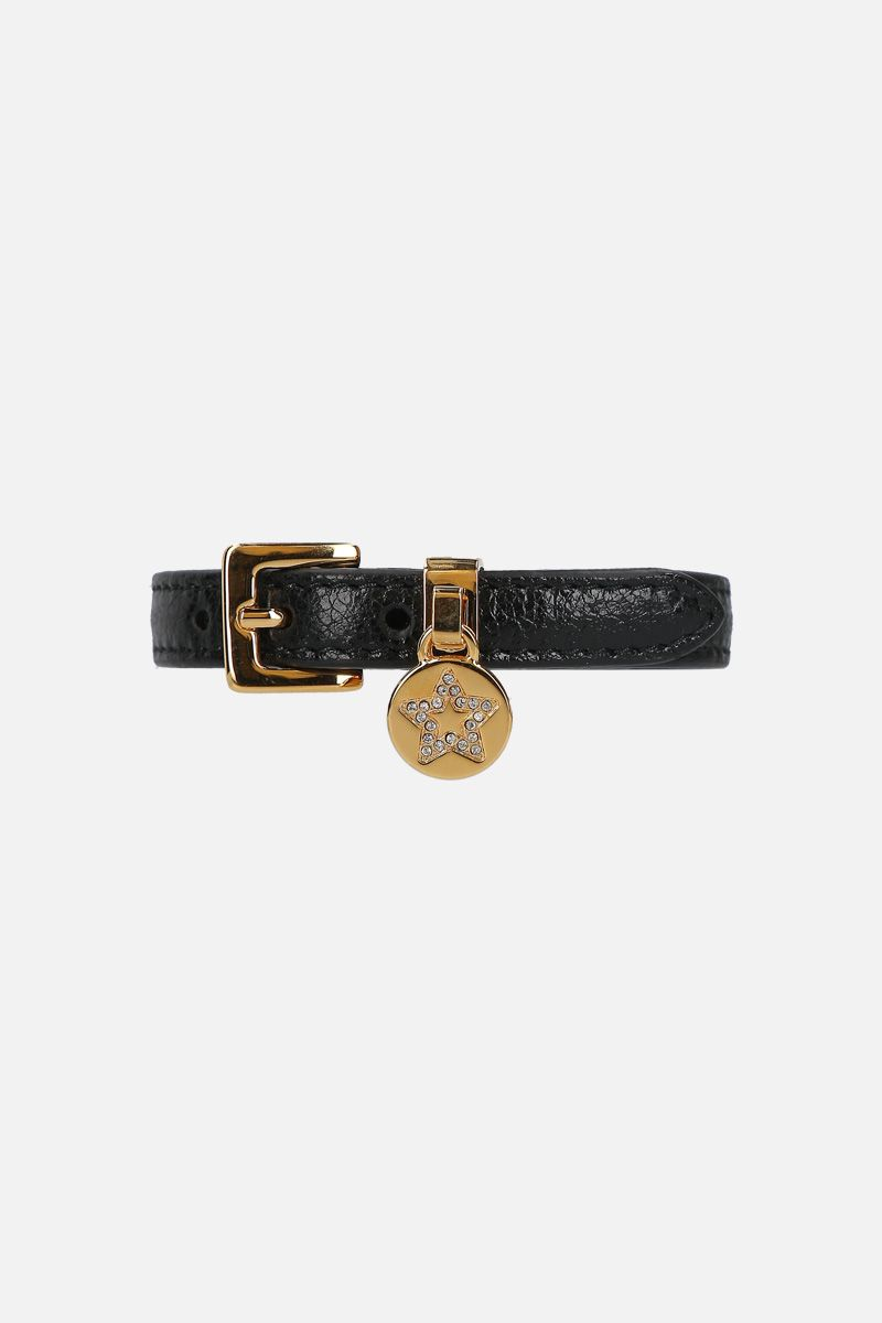 MIU MIU: Madras leather bracelet Color Black_1