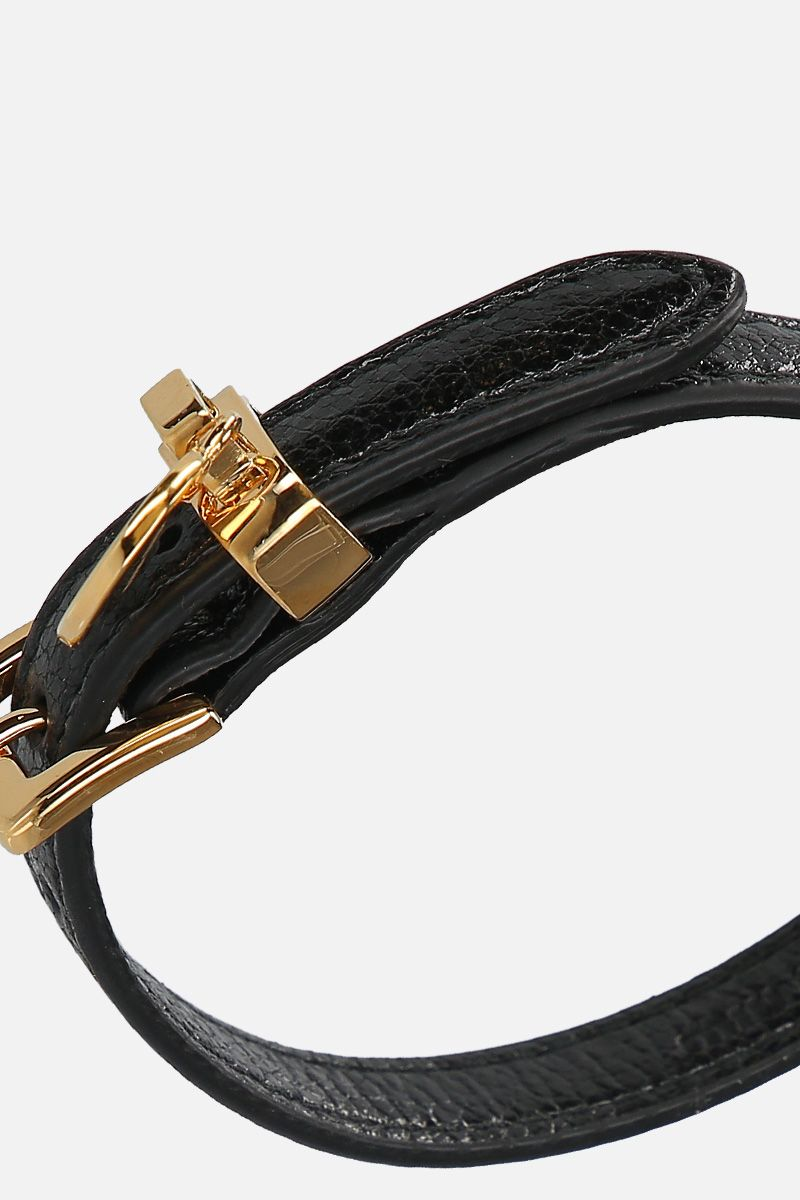 MIU MIU: Madras leather bracelet Color Black_2