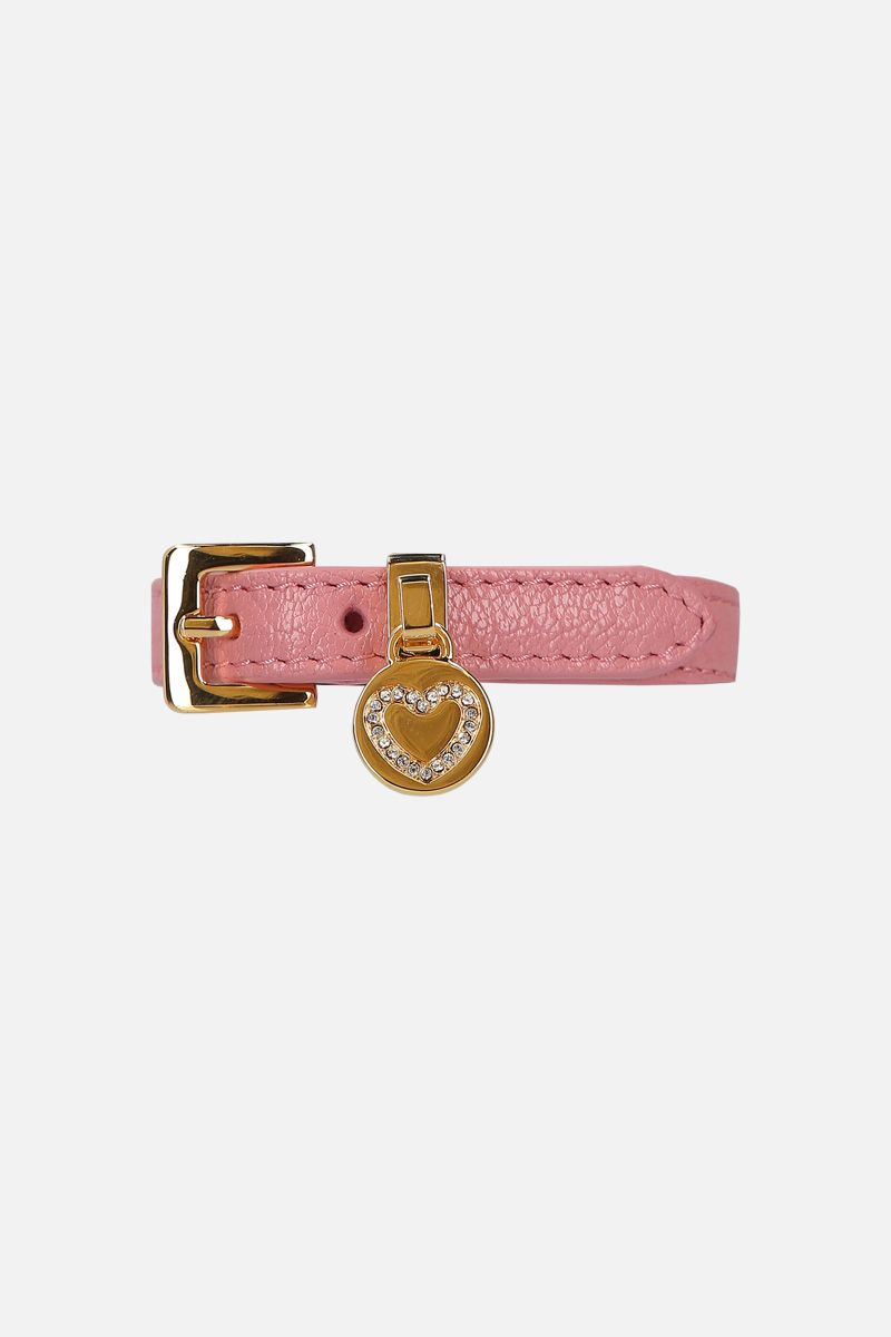 MIU MIU: Madras leather bracelet Color Pink_1