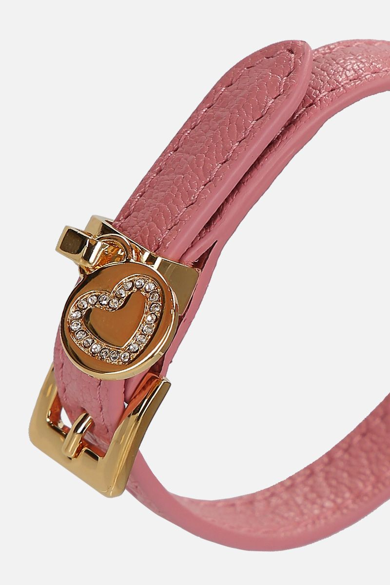 MIU MIU: Madras leather bracelet Color Pink_2